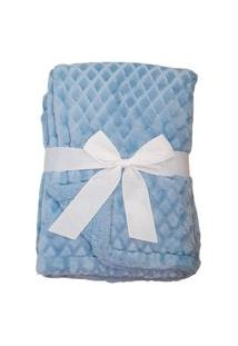 Manta Soft Bebe Cobertor Microfibra Com Sherpa Relevo Azul