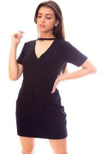 Vestido Moda Vício Gola Chocker Feminino - Feminino-Preto