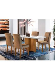 Conjunto De Mesa De Jantar Berlim I Off White Com 4 Cadeiras Grécia Suede Chocolate E Imbuia