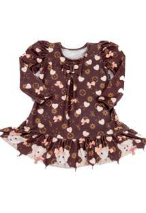 Vestido Infantil Yoyo Monograma Marrom