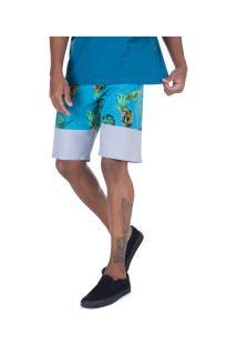 Bermuda Oakley Tropical Midsum - Masculina - Cinza Cla/Azul Cla