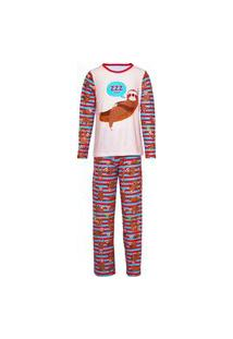 Pijama Menino Manga Longa E Calça Isabb Bicho Preguiça Marrom