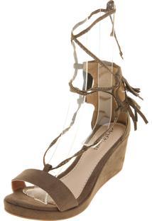 b6884ee5b Sandália Dafiti Shoes Anabela Franja Verde