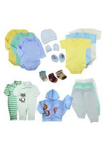 Kit Roupas De Bebê 19 Peças Enxoval Completo Menino E Menina Azul