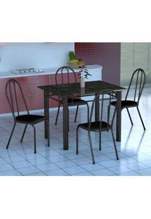 Conjunto De Mesa Genova Com 4 Cadeiras Alicante Preto Prata E Preto Liso
