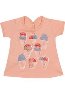 Camiseta Pimentinha Kids Ice Cream Laranja