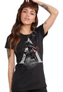Camiseta Feminina Assassin'S Creed Odyssey Statue - Feminino-Preto