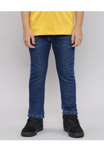 Calça Jeans Infantil Color Slim Com Bolsos Azul Escuro