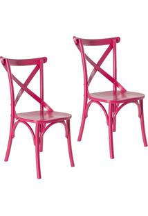 Kit 2 Cadeiras Paris Estilo Vintage Em Madeira Maciça Pintura Laca Rosa Pink