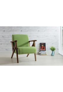 Poltrona De Madeira Decorativa Verde - Poltrona Confortável Para Sala E Quarto - Verniz Capuccino \ Tec.942 - Anis 72X76X85 Cm