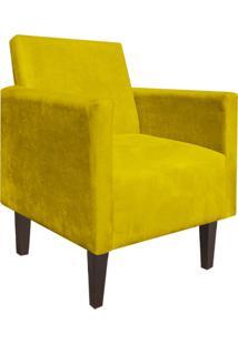 Kit 02 Poltrona Decorativa Compacta Jade Suede Amarelo Com Pés Baixo Chanfrado - D'Rossi