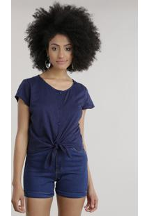 Blusa Cropped Com Amarração Azul Marinho