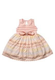 Vestido Infantil Com Laço Bordado Em Pérola Estampado - Anjos Baby Chic Rosa