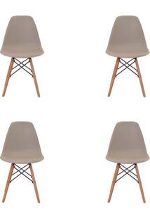 Kit 4 Peças Cadeira Eames Eiffel Rivatti Sem Braço Pp Base Madeira Nude