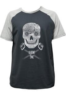 Camiseta Alkary Raglan Manga Curta Bmx Caveira Chumbo E Mescla