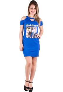 Vestido Blusão Com Estampa - Banna Hanna - Feminino-Azul