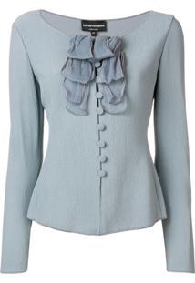 Emporio Armani Ruffle Trim Textured Jacket - Azul