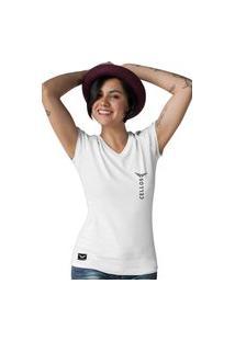 Camiseta Feminina Gola V Cellos Vertical Premium W Branco