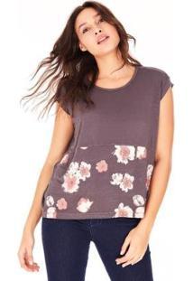 Camiseta Vera - Side Walk Feminina - Feminino-Cinza