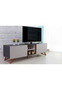 Rack Para Tv Preto Moderno Vintage Retrô Com 2 Portas Cinza Freddie - 160X43,6X48,5 Cm