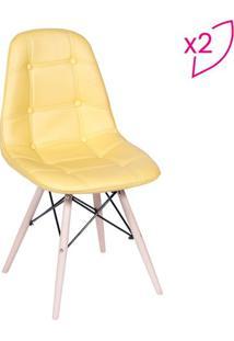 Jogo De Cadeiras Eames Botonê- Amarelo & Bege Claro-Or Design