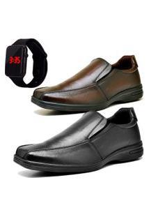 2 Pares Sapato Social Fashion Com Relógio Led Dubuy 232El Preto