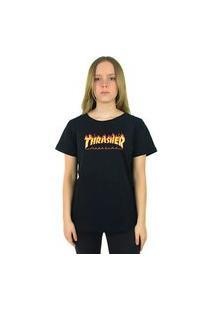 Camiseta Thrasher Magazine Flame Logo Feminina Preta