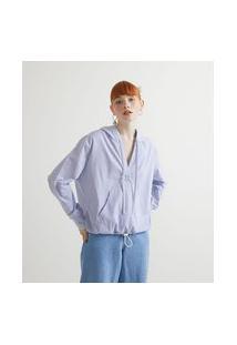 Camisa Em Tricoline Com Capuz Listrada   Blue Steel   Azul   M
