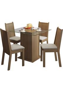 Sala De Jantar Madesa Base De Madeira Com Tampo De Vidro E 4 Cadeiras Lucy - Rústico E Pérola