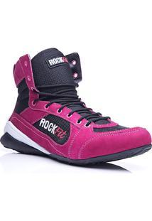 4751e53a6179f Bota De Treino Rock Fit Work Out Em Couro Pink E Preto