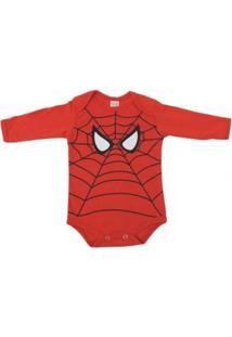 Body Bebê Anne Baby Manga Longa Homem Aranha Masculino - Masculino-Vermelho