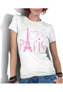 Camiseta Criativa Urbana Love Paris França - Feminino-Branco