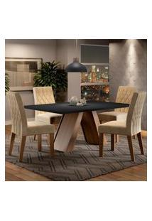 Conjunto Sala De Jantar Madesa Karen Mesa Tampo De Madeira Com 4 Cadeiras Marrom