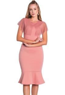 Vestido Midi Rosa Envelhecido Moda Evangélica