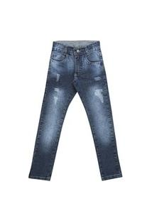 Calça Infantil Slim Jeans Escuro Estonado