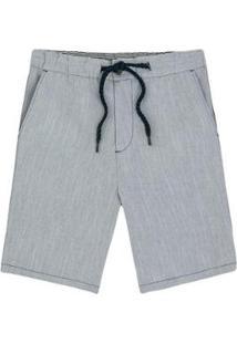Bermuda Slim Hering Em Tecido Fio Tinto Com Amarração Masculina - Masculino-Cinza