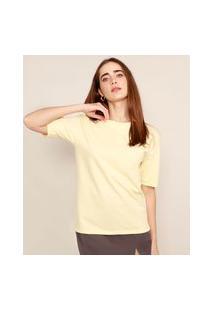 T-Shirt Oversized Manga Curta Decote Redondo Mindset Amarelo Claro