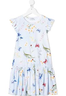 Monnalisa Vestido Com Estampa Floral - Azul