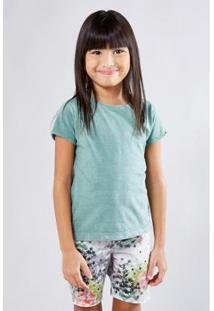 Camiseta Infantil Basica Lisa Reserva Mini Feminina - Feminino-Verde Militar
