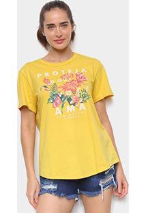 Camiseta Colcci Floral Feminina - Feminino-Dourado