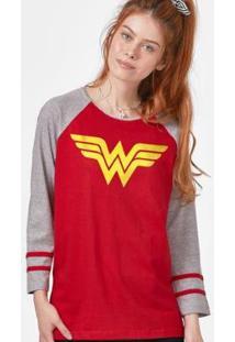 Camiseta Manga Longa Feminina Mulher Maravilha Logo - Feminino-Vermelho