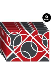 Jogo Americano Mdecore Geométrico 40X28Cm Vermelho 6Pçs