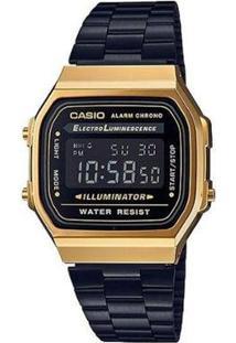 Relógio Casio Vintage A168Wegb-1Bdf Digital - Unissex-Preto+Dourado