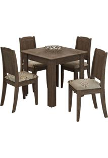 Sala De Jantar Suly 90 Cm Com 4 Cadeiras Marrocos
