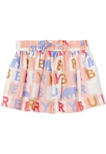 Burberry Kids Logo Print Cotton Silk Drawcord Shorts - Rosa