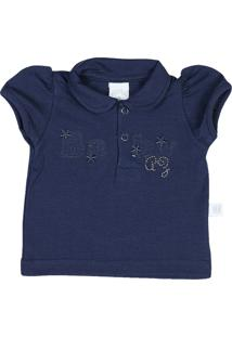 Camiseta Ano Zero Bebê Pólo Malha Cotton Baby -Marinho M