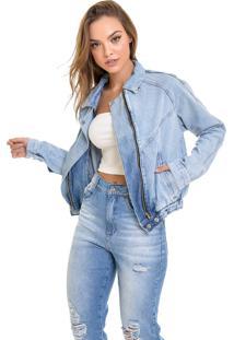 Jaqueta Jeans Dialogo Retro Com Elástico
