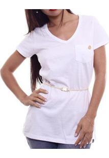 Camiseta Alma De Praia Maxi V C/ Cinto Feminina - Feminino-Branco