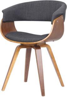 Cadeira Betina Estofada Base Madeira Cor Grafite - 29964 - Sun House