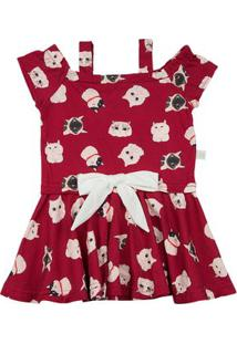 Vestido Infantil Malha Estampa Digital Gatinhos Com Lacinho - Vermelho 2